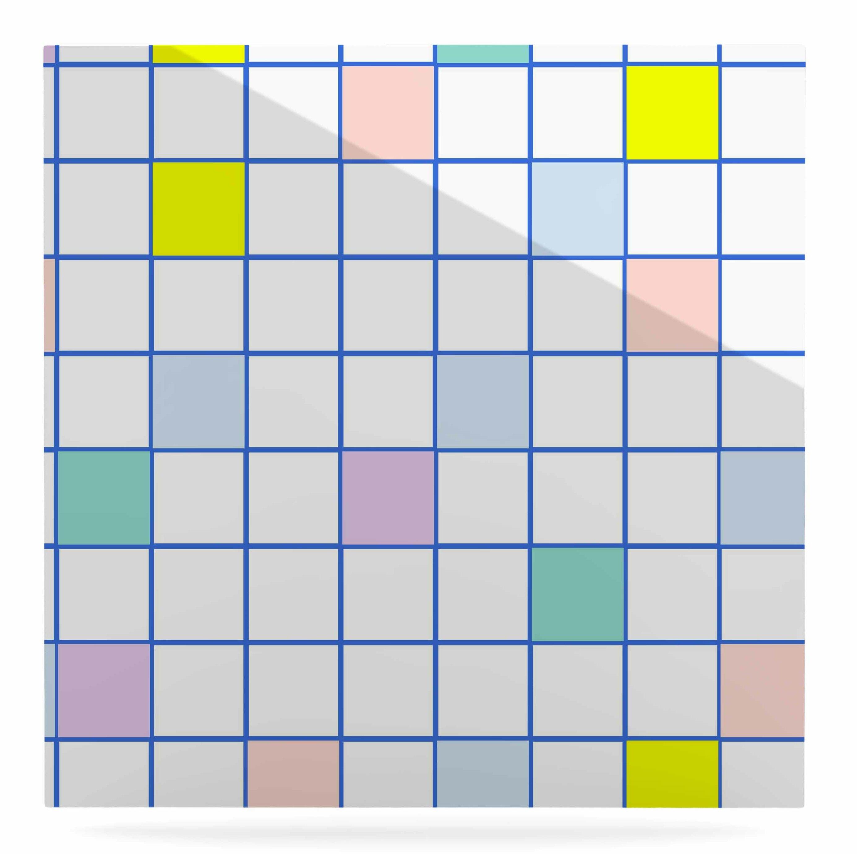 East Urban Home Pastel Windowpane Grid Graphic Art Print On Metal Wayfair