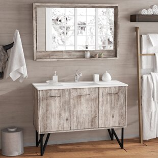 Reviews Ellison Nature Wood 47 Single Bathroom Vanity Set with Mirror By Union Rustic