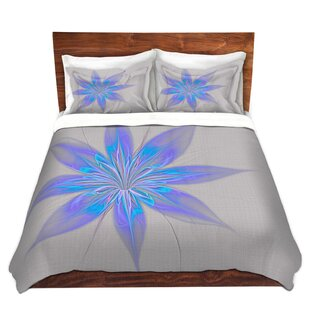 Latitude Run Mathewson Pam Amos Silk Flower Light Blue Microfiber Duvet Co..