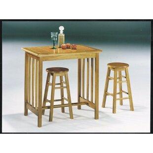 Red Barrel Studio Mazan Wooden 3 Piece Counter Height Dining Set