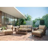 Cayman Sofa, Stationary Lounge Chair, Coffee Table, Ottoman and Woven Drum Stool/Side Table 8 Piece Rattan Sofa Seating Group with Sunbrella Cushions by Winston