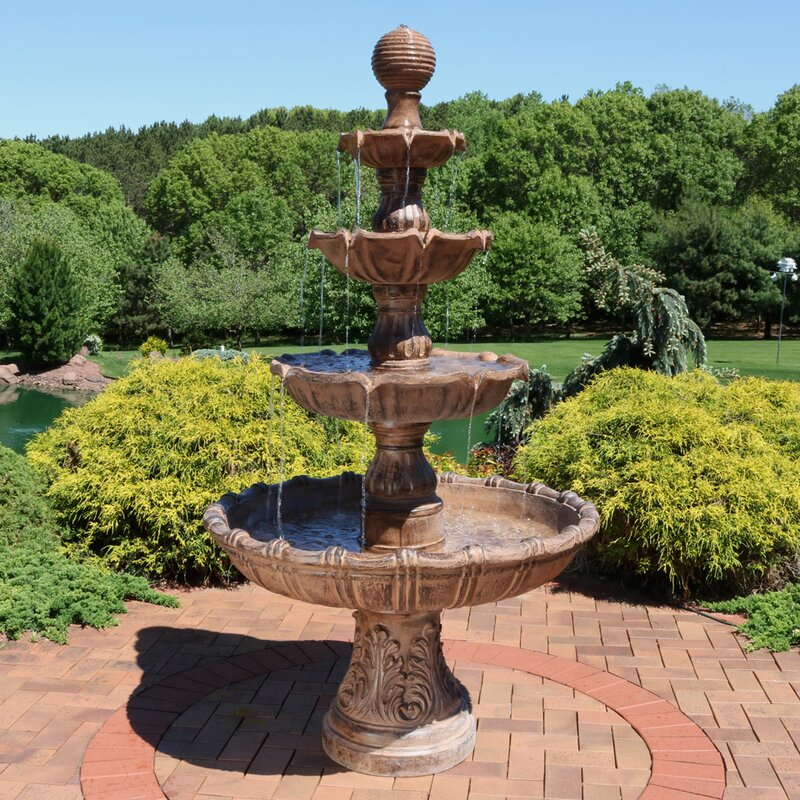 Exceptionnel Fiberglass/Resin Large Tiered Ball Outdoor Fountain