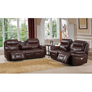Kubik Reclining 2 Piece Leather Living Ro..