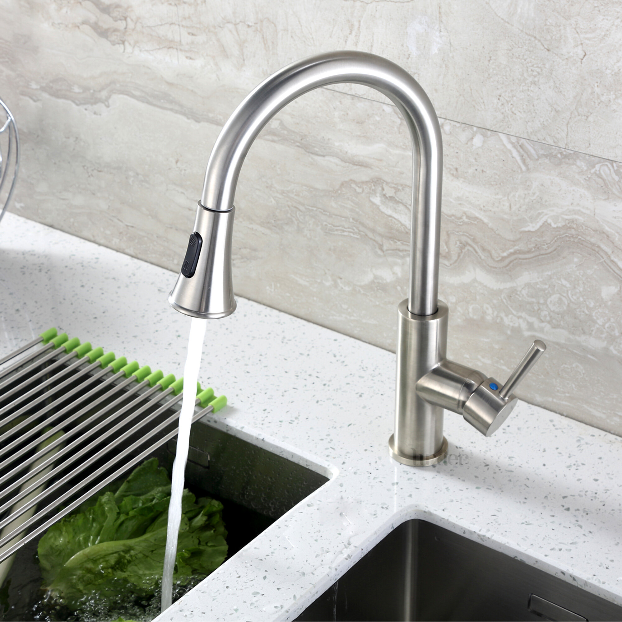 Luxier Pull Down Single Handle Kitchen Faucet Reviews Wayfair
