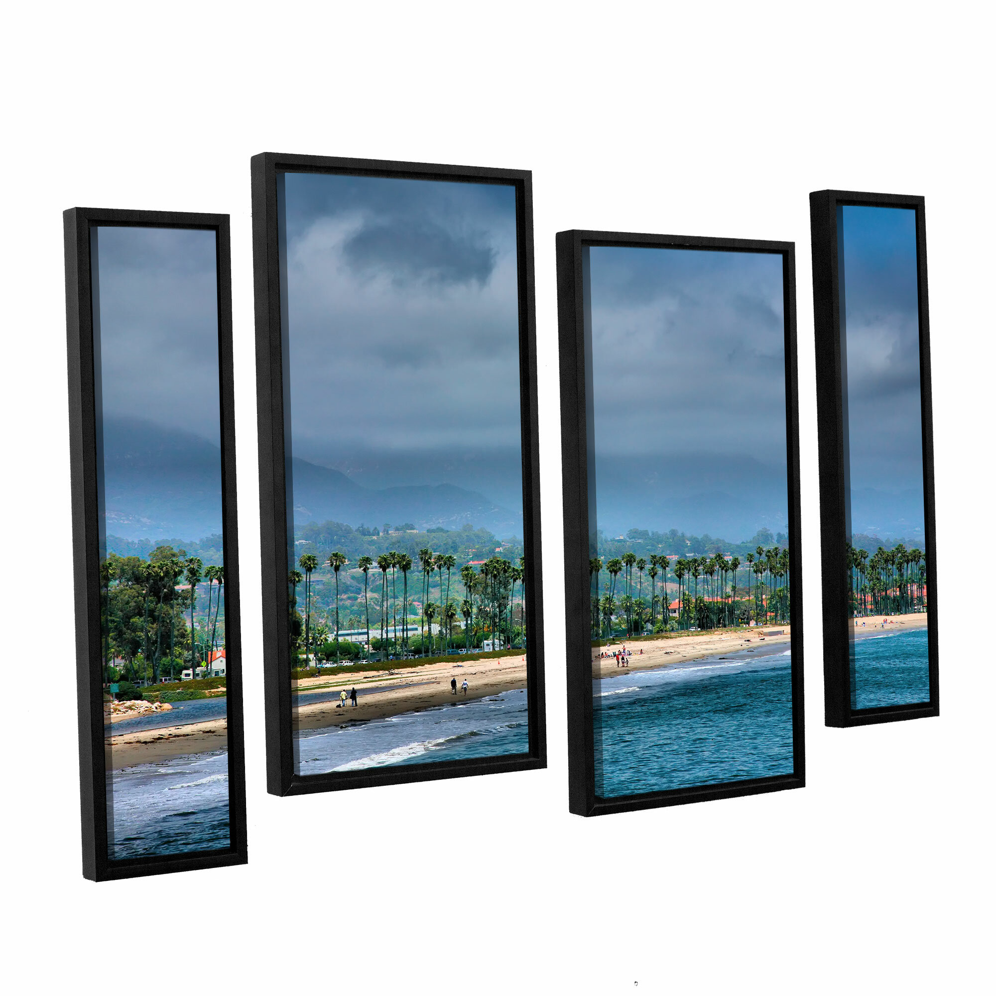 Artwall The Beach At Santa Barbara By Steve Ainsworth 4 Piece Framed Photographic Print On Canvas Set Wayfair