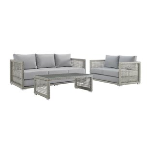 Cassiopeia 3 Piece Rattan Sofa Seating Group by Highland Dunes