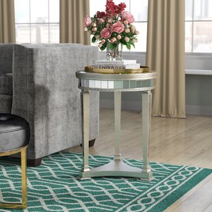 Willa Arlo Interiors Roehl Mirrored End Table in Antique Silver