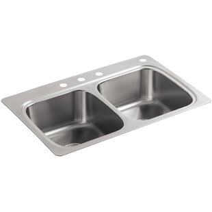 Kohler Verse Top-Mount Double-Equal Bowl Kitchen Sink with 4 Faucet Holes