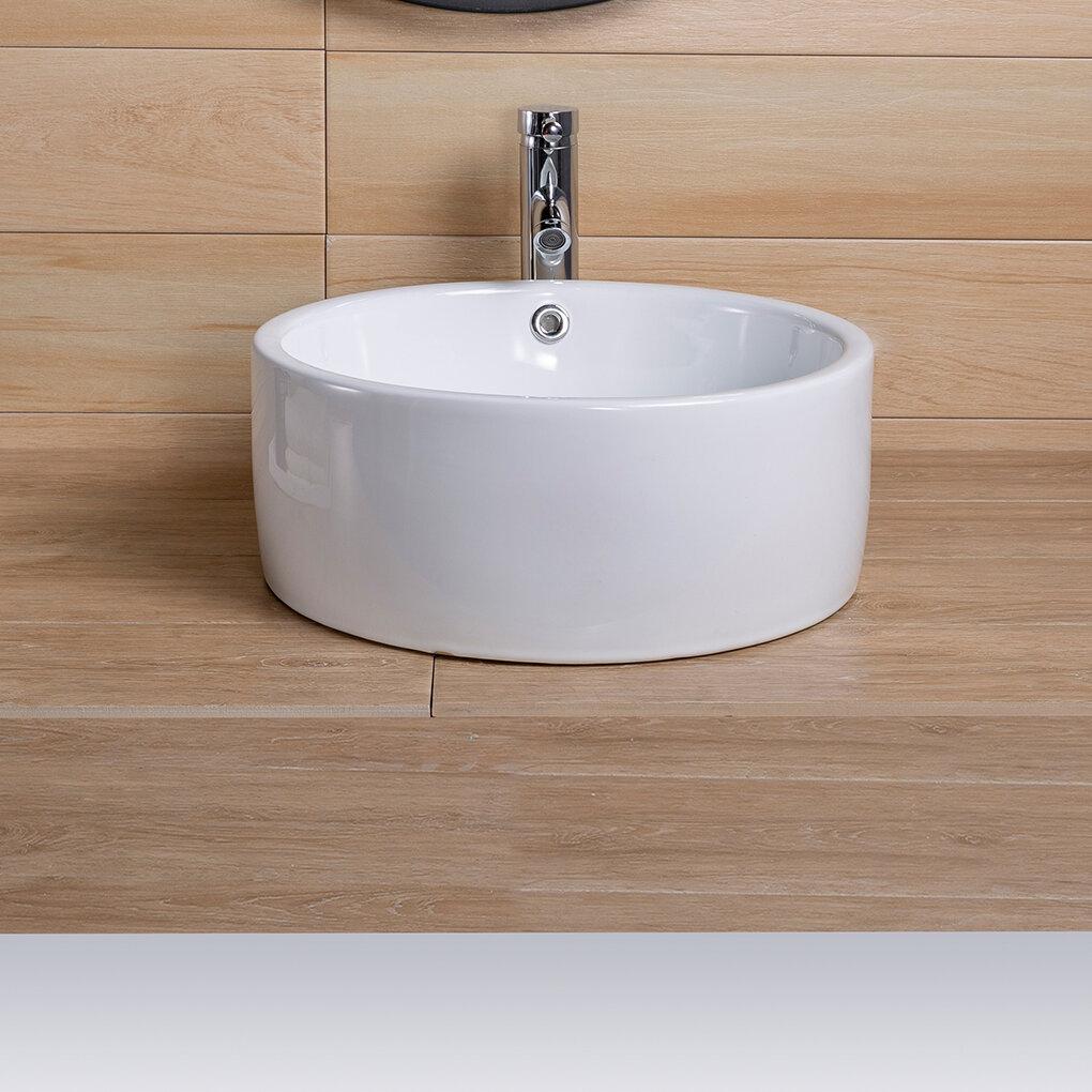 Vr Suppliers White Ceramic Circular Vessel Bathroom Sink With Overflow Wayfair