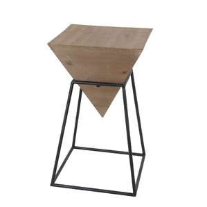 Reiley Large Wood Iron End Table by Ivy Bronx