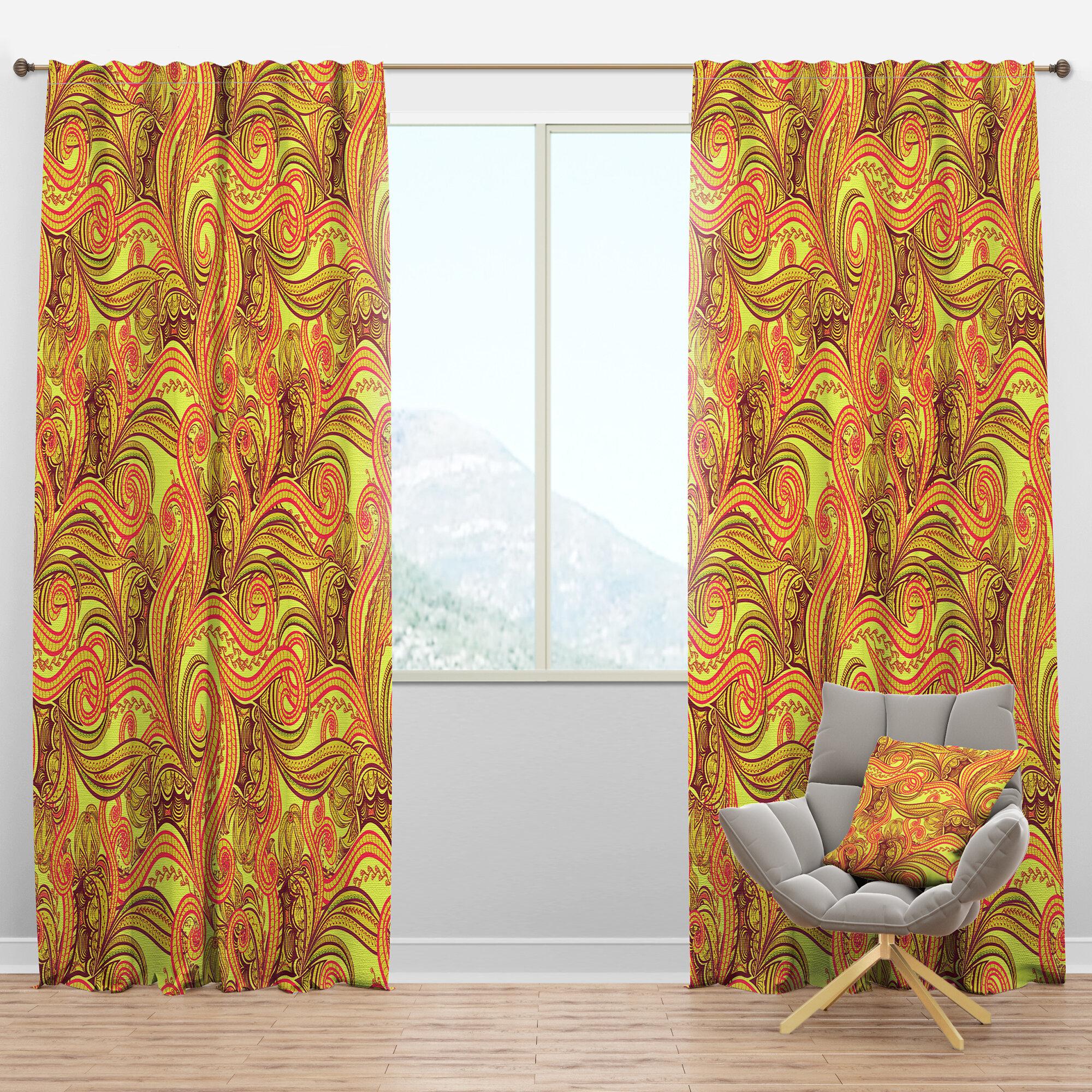 Designart Ornament Ethnic Floral Semi Sheer Thermal Rod Pocket Curtain Panel Wayfair