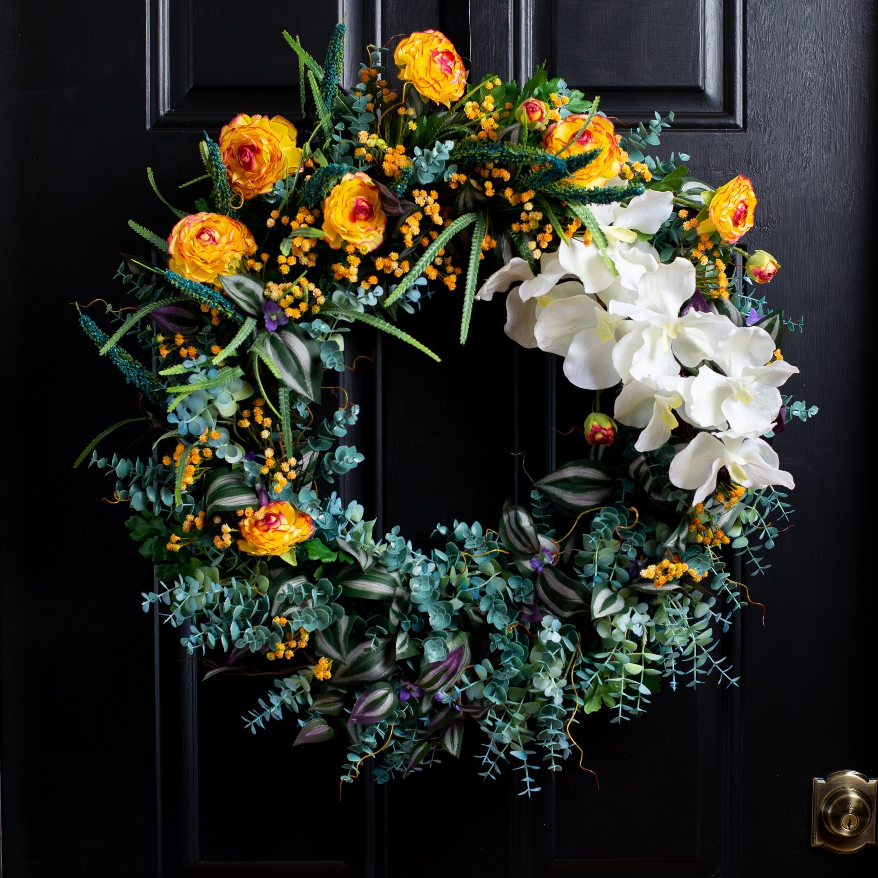 Spring Wreath door hanger Fern wreath Wreath Front Door Wreath Summer Wreath Orchid Wreath Peony Flower Wreath Greenery Wreath
