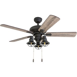 42 black ceiling fan with light brushed nickel 42 farmhouse rustic ceiling fans birch lane