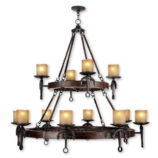 Liam 12-Light Wagon Wheel Chandelier