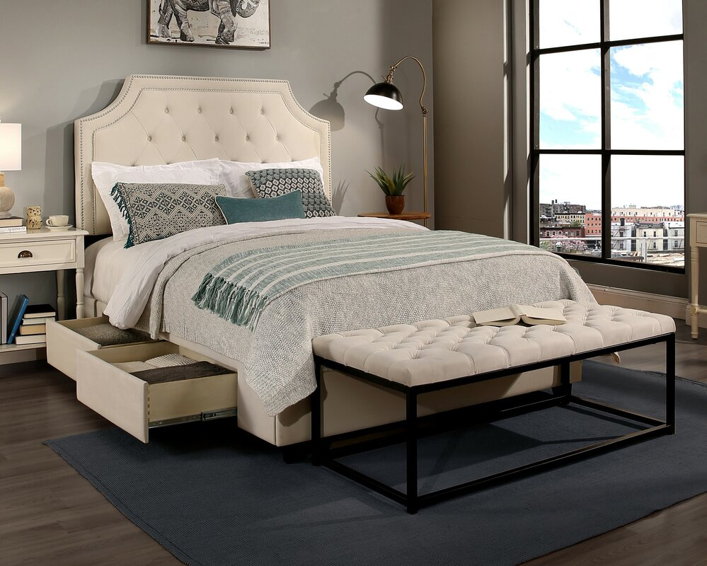Audrey Upholstered Panel Headboard and Bench