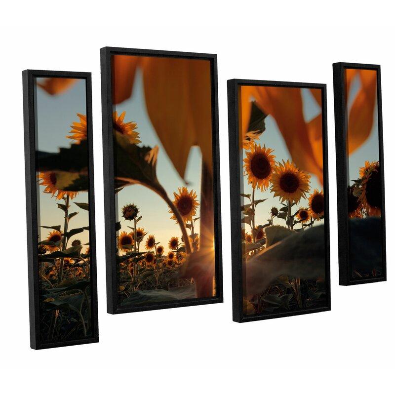 Latitude Run Sunflower Field 4 Piece Framed Photographic Print Set Wayfair