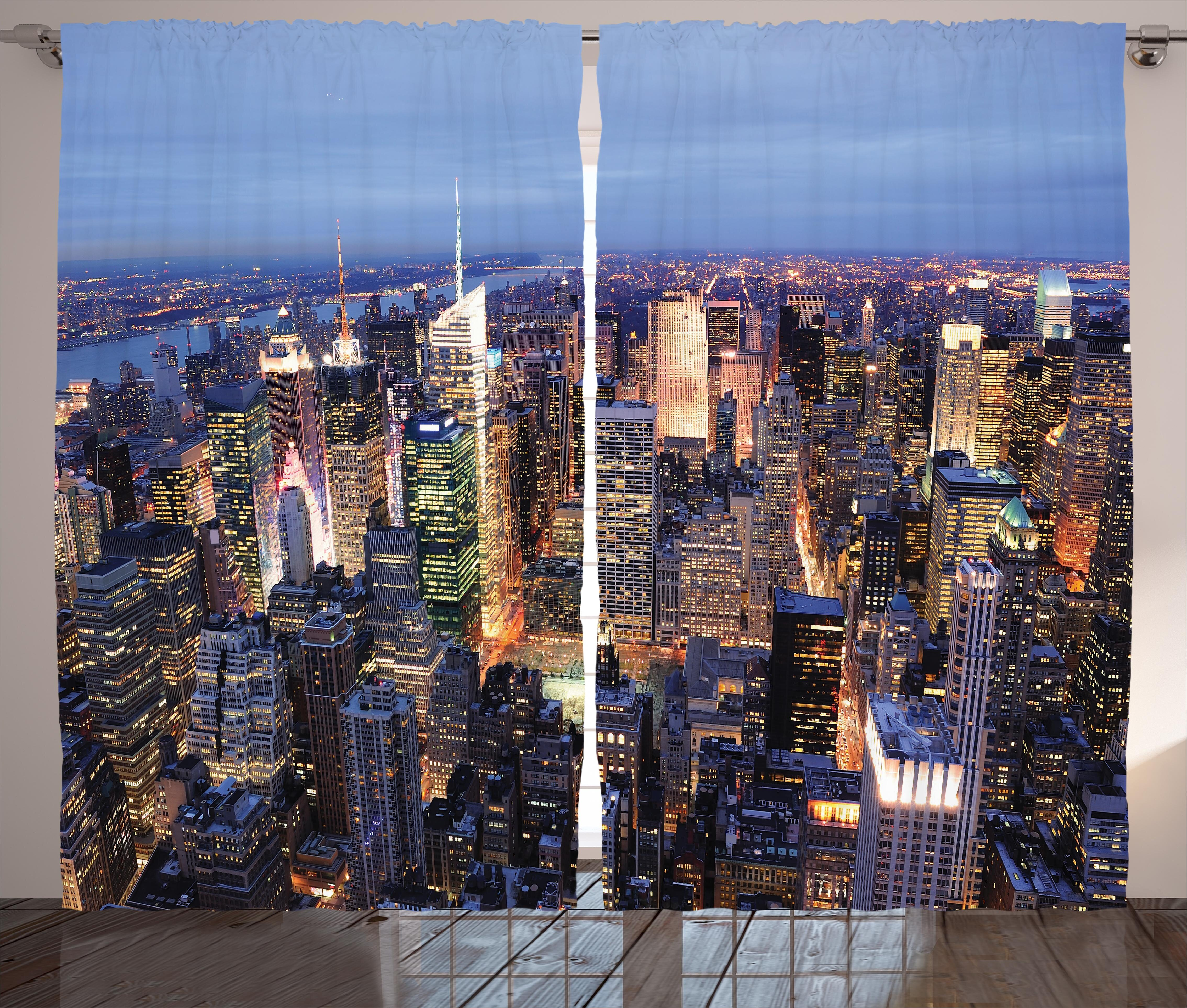 East Urban Home Griet New York Aerial View Of Nyc Full Of Skyscrapers Manhattan Times Square Famous Cityscape Panorama Graphic Print Text Semi Sheer Rod Pocket Curtain Panels Wayfair