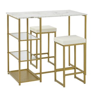 Audiwin 3  Piece Counter Height Dining Set Set of 3 by Everly Quinn