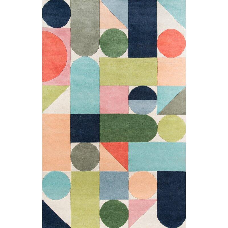 Novogratz Geometric Handmade Tufted Wool Blue Green Orange Area Rug Reviews Wayfair