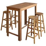 Pascoag 5 - Piece Counter Height Acacia Solid Wood Dining Set by Red Barrel Studio®