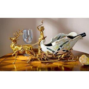 Classical Sleigh Deer Porcelain 1 Bottle Tabletop Wine Bottle Rack by Westmen Lights