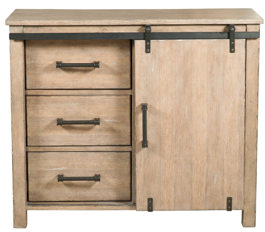 Lemelin Farmhouse Style Sliding Storage 3 Drawers or 1 Door Accent Cabinet & Gracie Oaks Lemelin Farmhouse Style Sliding Storage 3 Drawers or 1 ...