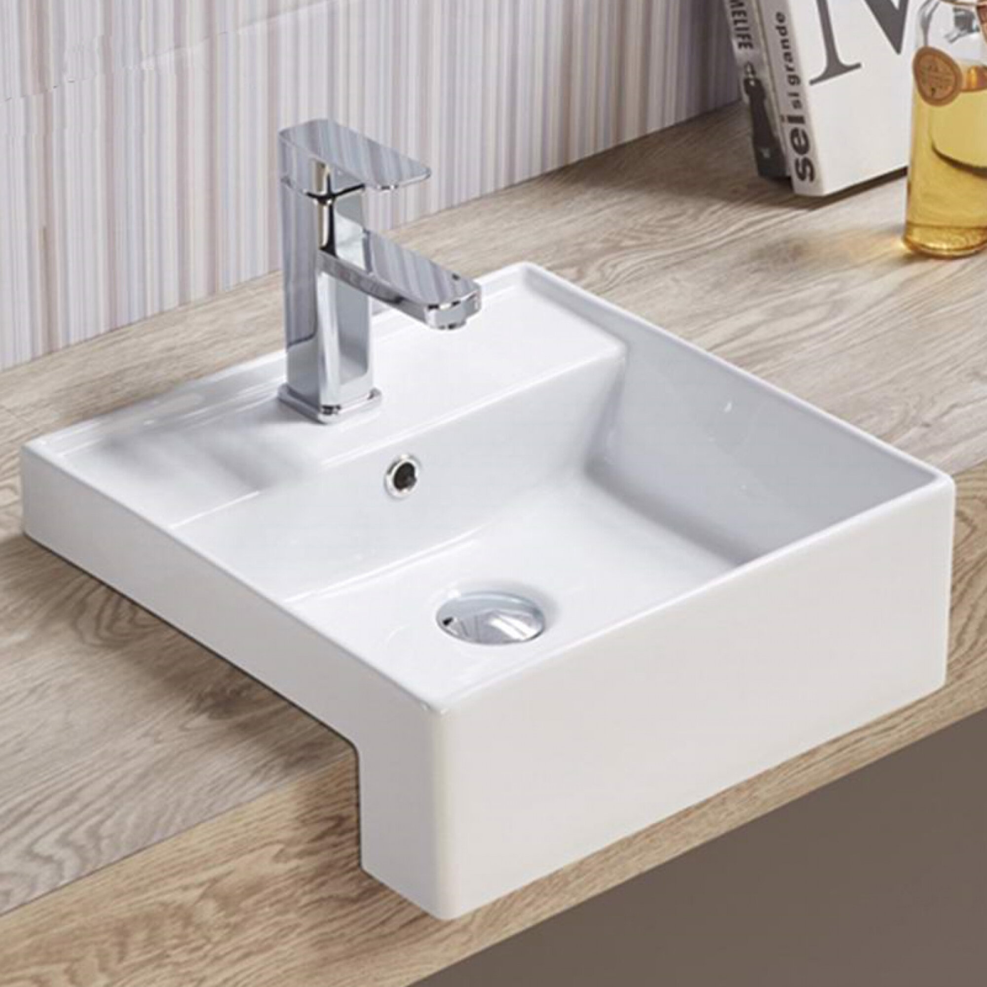 American Imaginations Semi Recessed For 1 Hole Center Drilling Ceramic Square Vessel Bathroom Sink With Overflow Wayfair