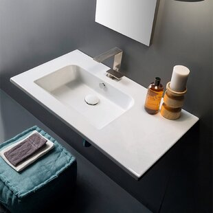 Shop for Ceramic 33'' Wall Mount Bathroom Sink with Overflow By Scarabeo by Nameeks