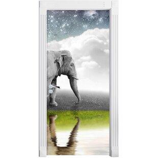 Fantastic Elephant On Meadow Door Sticker By East Urban Home