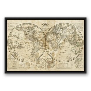 Floater frame map wall art joss main distressed world map graphic art print on wrapped canvas gumiabroncs Image collections
