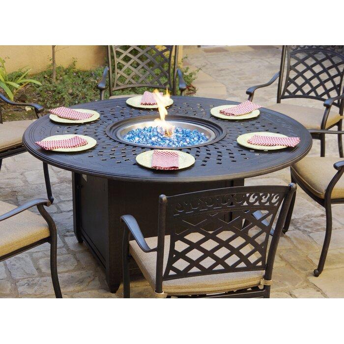 Surprising Patio Dining 60 Round Aluminum Propane Fire Pit Squirreltailoven Fun Painted Chair Ideas Images Squirreltailovenorg