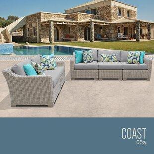 TK Classics Coast 5 Piece Wicker Patio Ch..