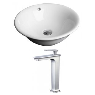 Compare prices Ceramic Circular Vessel Bathroom Sink with Faucet and Overflow ByAmerican Imaginations