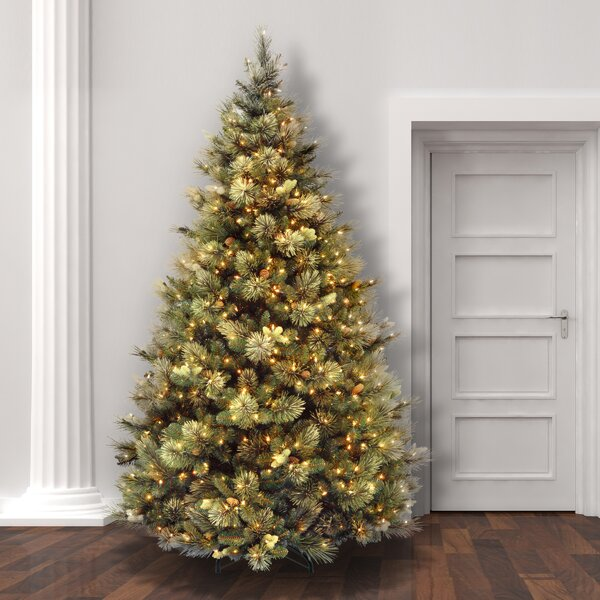laurel foundry modern farmhouse green pine trees artificial christmas tree with clearwhite lights reviews wayfair - Cheap Artificial Christmas Trees