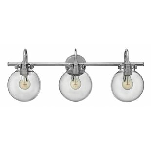 Mercury Row Bunnell Traditional 3-Light Vanity Light with Hand Blown Glass Shade