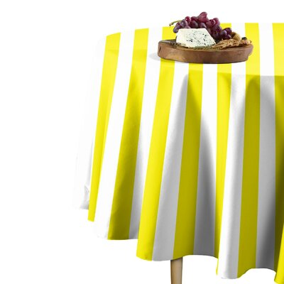 "Rosdorf Park Sam Stripe Table Cloth  Size: 114"" L x 114"" W, Color: Yellow"