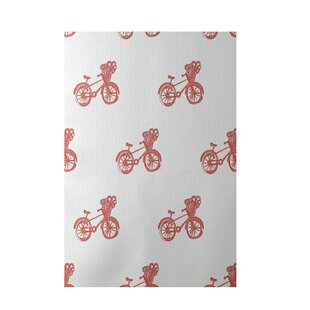 Bicycles! Geometric Print Red Indoor/Outdoor Area Rug By e by design
