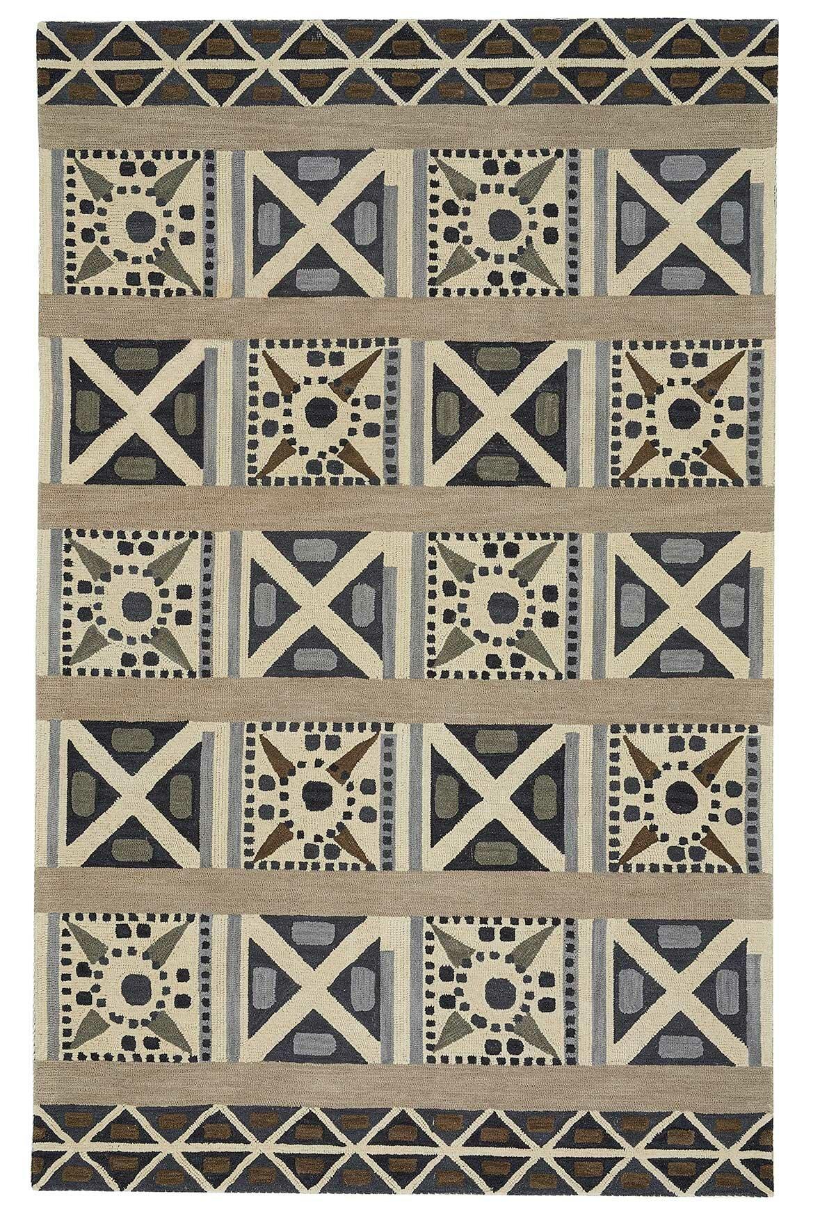Bloomsbury Market Hinnant Geometric Hand Tufted Wool Pewter Area Rug Wayfair