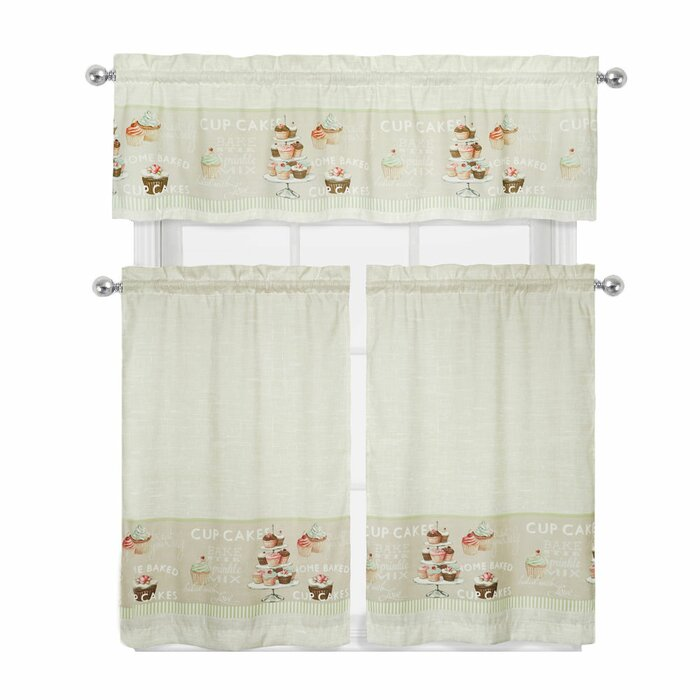 Cupcakes 3 Piece Kitchen Curtain Set
