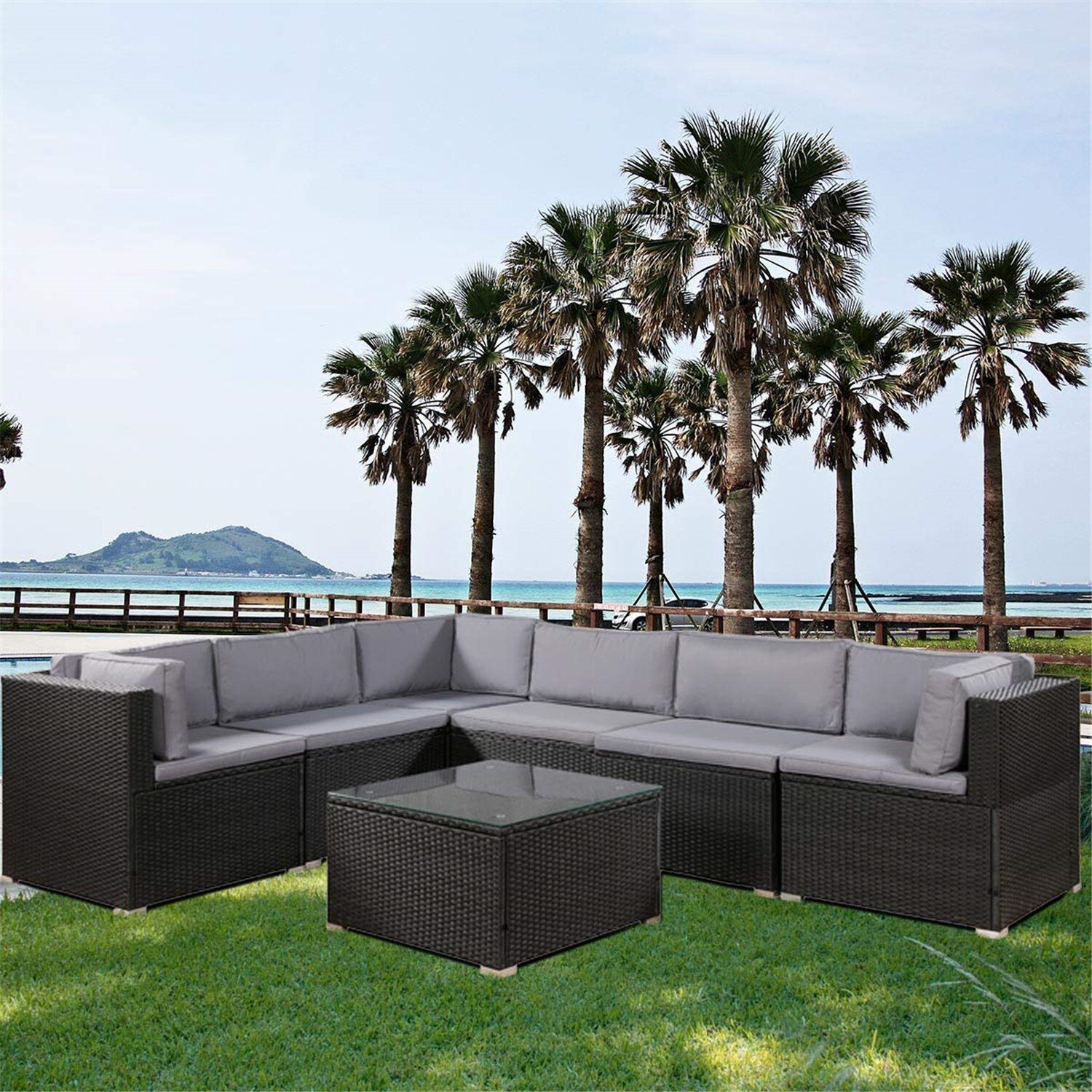 Latitude Run Deaven Patio 7 Piece Sectional Seating Group With Cushions Wayfair