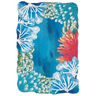 Fey Reef Border Handmade Blue Indoor/Outdoor Area Rug