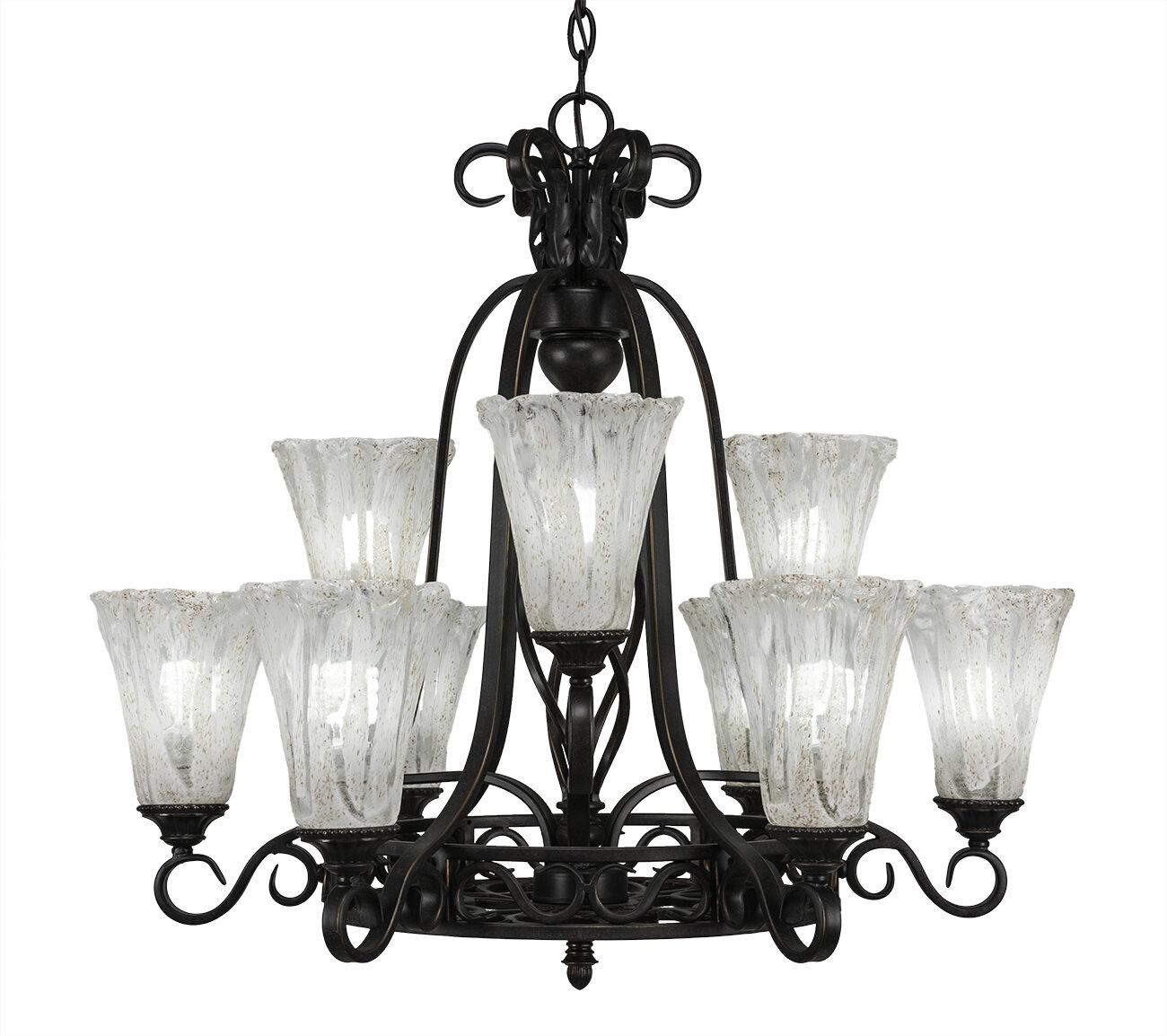 Astoria Grand Pierro 9 Light Shaded Tiered Chandelier Wayfair
