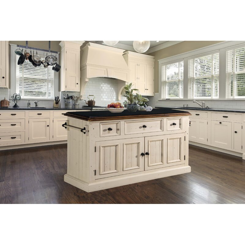 Three Posts Eloy Kitchen Island With Granite Top Reviews Wayfair