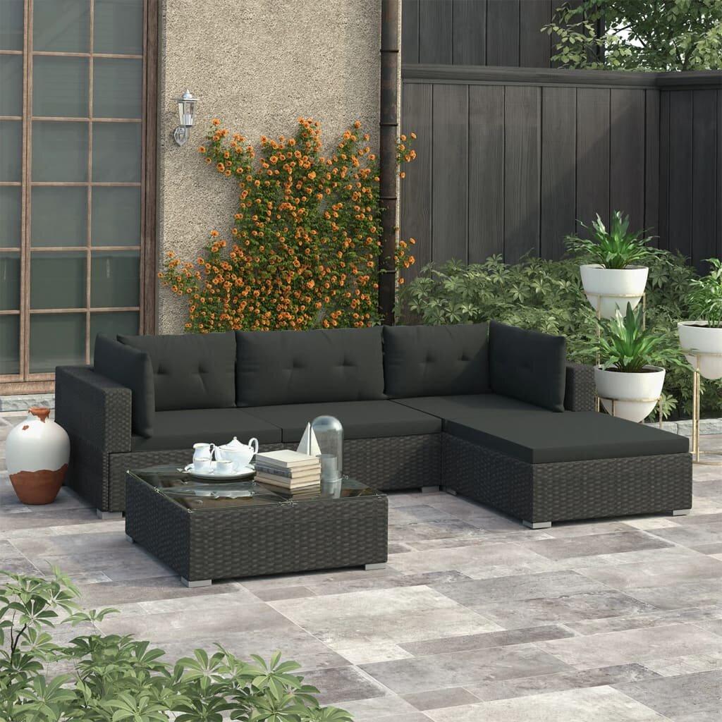 Garden Lounge 5 Piece Rattan Sectional