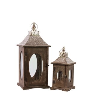 Urban Trends Wood Square Lantern with Silver Pierced Metal Top, Ring Hanger and Glass Windows Set of Two Stained Wood Finish