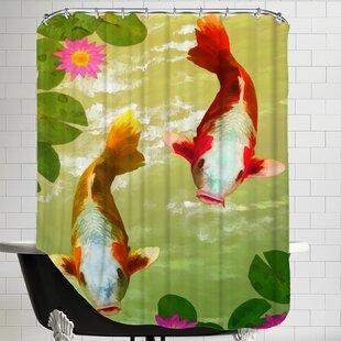 Asia Fish Koi Sealife Single Shower Curtain