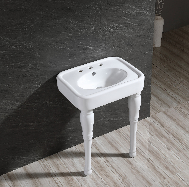 Kingston Brass Derrah White Ceramic Rectangular Console Bathroom Sink With Overflow