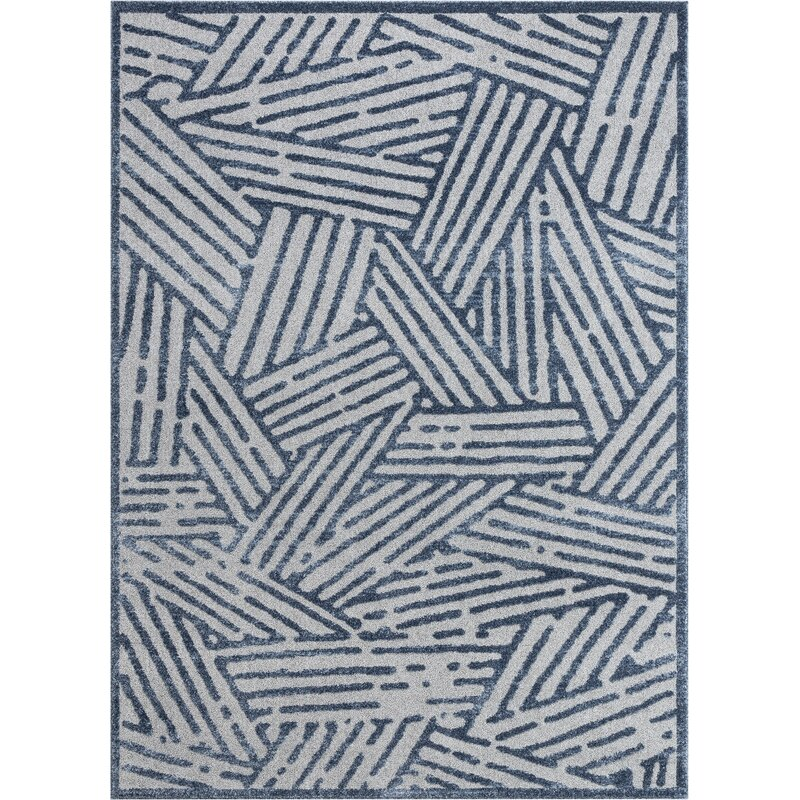 Well Woven Malaga Tukker Vintage Modern Geometric Blue Area Rug