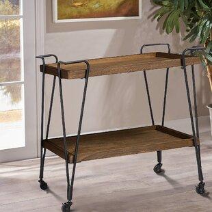 Zosia Ash Wood Mobile Serving Bar Cart by Gracie Oaks