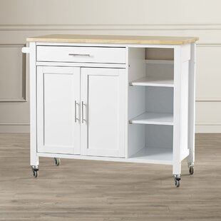 Landau Kitchen Cart with Butcher Block Top Alcott Hill